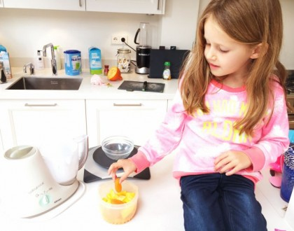 Pompoen, wortel en abrikozenpuree