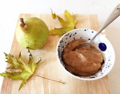 Geroosterde perenpuree met dadels en vanille