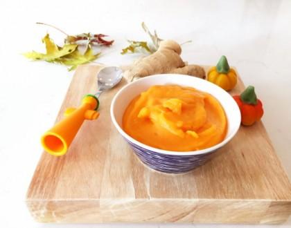 Zoete aardappel en mangopuree